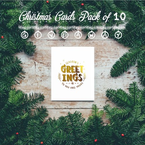 Gold foil Christmas cards pack of 10